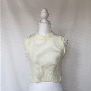 Cream cropped sleeveless knit sweater tank